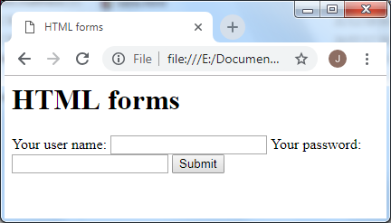 The finished form in a browser