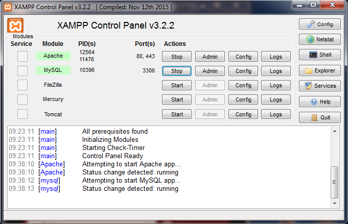 The XAMPP control panel with servers running